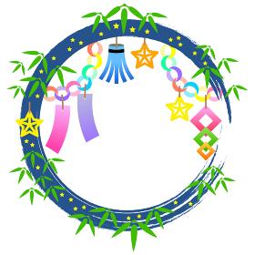 七夕祭りの装飾枠のイラスト