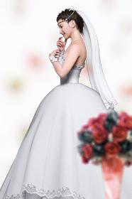 フラワーアレンジメントの置物の前で純白のウエディングドレスを着た花嫁が横向きに立つ