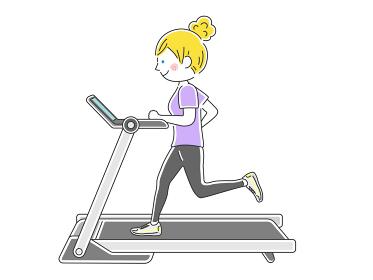ランニングマシンで走る女性のイラスト