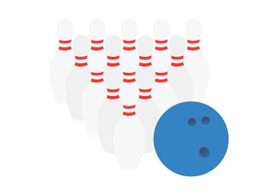 ボウリングのピンとボールのイラスト