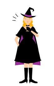 ハロウィンの仮装、魔女姿の女性が胸を叩いているお任せあれのポーズ