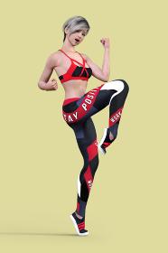 ショートカットのスポーティーな女性がそのばで駈歩をするトレーニングをする