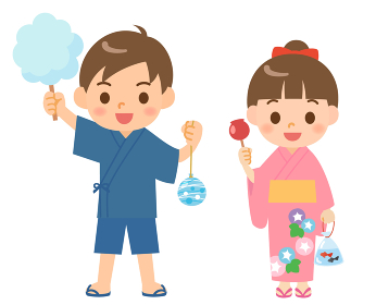 夏祭りの浴衣の子供
