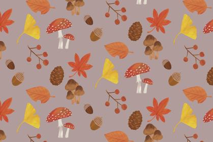 秋 背景 イラスト パターン 紅葉 イチョウ どんぐり 松ぼっくり きのこ 葉っぱ グレー