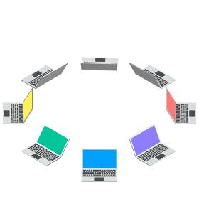 アイソメトリック図法で描かれたラップトップパソコンのベクターイラスト