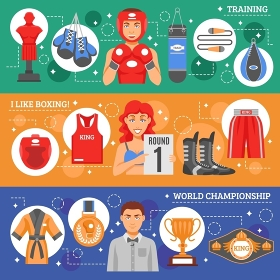 Boxing Flat Horizontal Banners. Sports attributes flat horizontal banners set with boxing training and clothes advertising and world championship awards and prizes collection vector illustration