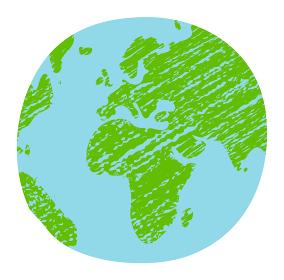 色鉛筆でラフに塗りつぶした手描き風世界地図 / 地球 ベクターイラスト (平面)