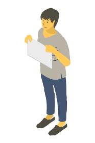 アイソメトリック図法で紙を胸元に持つ中性的