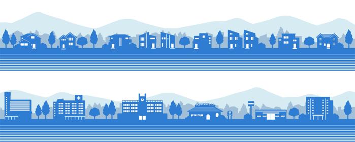 山のある街並みのシルエット(青)