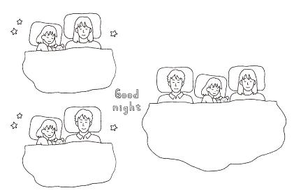 家族が一緒に寝ているイラストレーション