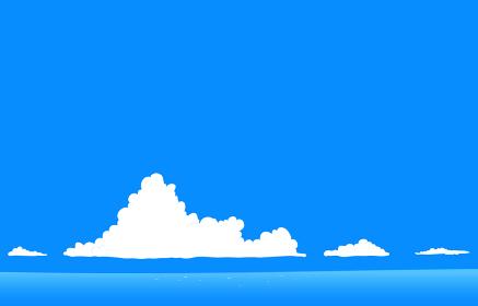 夏の青空と入道雲と海のイラスト