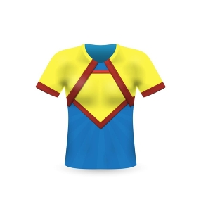 T-shirt in superhero style on a white background