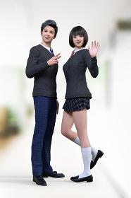 教室の前の廊下でかっこいい男子高校生とボブヘアのかわいい女子高生が楽しそうにピースサインと手を振る