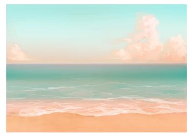 【朝】水彩風の砂浜と海の背景イラスト