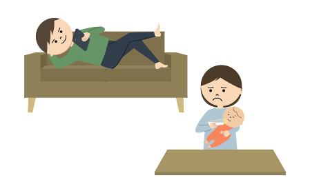 授乳中の母親とスマホをいじる父親のイラスト