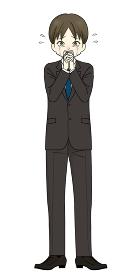 スーツを着た男性 お願い 泣く