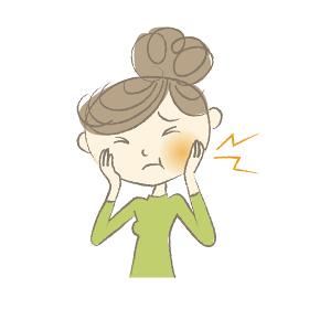 虫歯で頬が腫れて痛がる女性 デンタルイラス