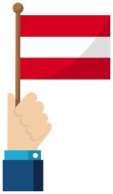 手持ち国旗イラスト ( 愛国心・イベント・お祝い・デモ ) / オーストリア