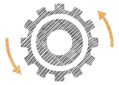 線画手描きチョークタッチ歯車ギアのインフォグラフィックスイラスト|コンセプト工業産業ビジネス