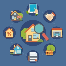 Real Estate Composition. Real estate composition with searching a house symbols flat isolated vector illustration