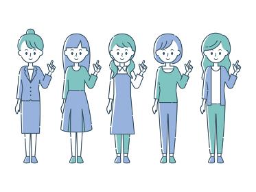 指を指す5人の女性