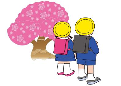 桜とランドセル姿の小学生
