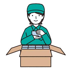 作業服を着た荷詰め作業をする女性イラスト