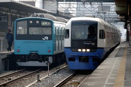 特急ビューわかしおと京葉線201系快速
