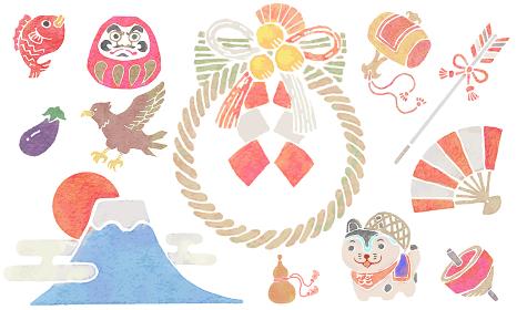 日本の縁起物の水彩版画スタイルのイラストのセット