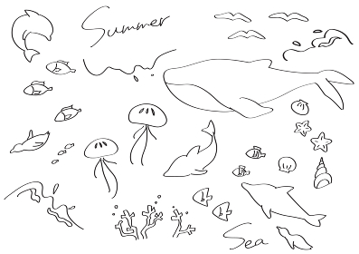 上品な海の生き物 線画 イラストセット