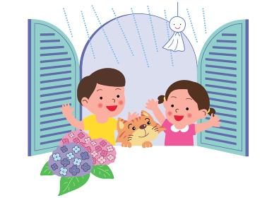 あじさい咲く窓辺の子供と猫とてるてる坊主