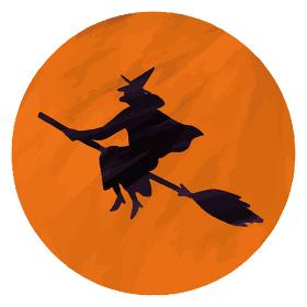 魔女 箒 満月 オレンジ イラスト