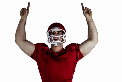 American football player cheering