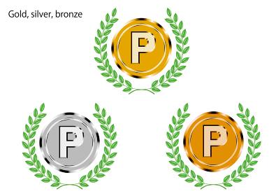 月桂樹緑のローレルつき金銀銅メダルイラストセット_ポイントプログラム通販