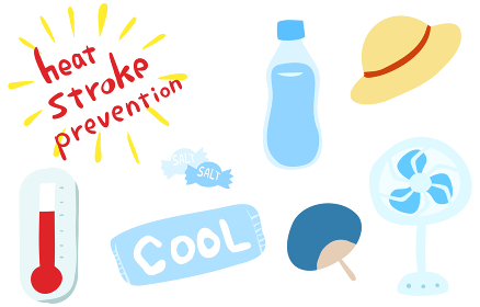 熱中症対策グッズのセット 水分と塩飴と保冷剤、麦わら帽子と扇風機