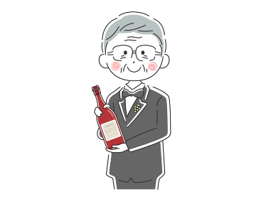 ワインを紹介するベテラン男性ソムリエのイラスト