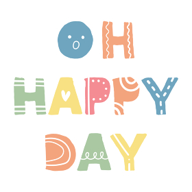 Oh Happy Day、スカンジナビアンスタイルの手書きワード