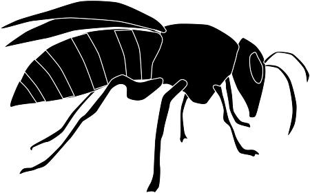 横を向いた蜂のシルエット素材