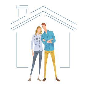 イラスト素材:家の前でポーズをとるカップル