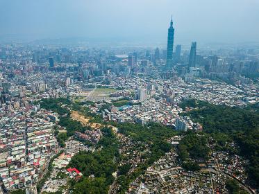 Taipei city, Taiwan, 18 May 2018:- Aerial view of Taipei city