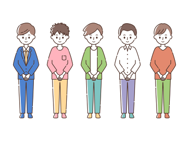 前で手を組む5人の男性