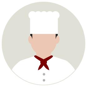 シルエット人物 円形アバターイラスト/ コック・シェフ・料理人