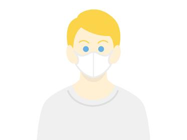 マスクをした白人男性のイラスト