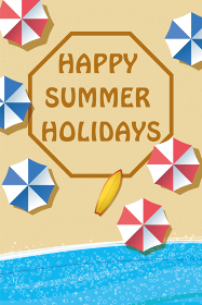 夏のイメージ|暑中見舞い葉書デザイン(横)|波打ち際砂浜とビーチパラソル summer image