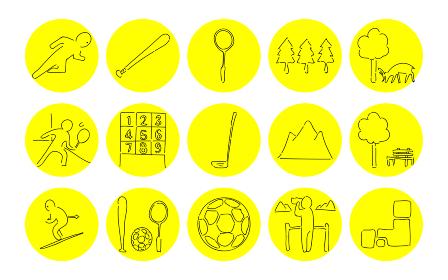 ラフな手書き風アイコンセット:スポーツと自然のベクターイラスト
