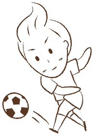 サッカーをする少年 シュート