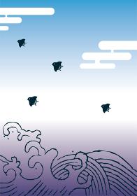 和柄波千鳥の背景イラスト 浮世絵風大波と千鳥 年賀状暑中見舞い素材
