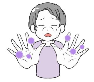 手を突き出す高齢女性 ウイルス