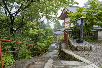 雨上がりの東京御岳神社の参道