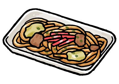 【手描きベクター食べ物イラスト素材】トレーに入った焼きそばのイラスト【縁日・お祭り・屋台の食べ物】